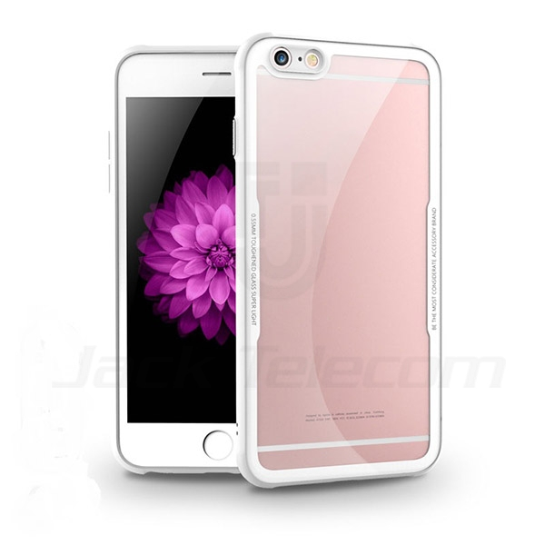 Ultra Thin Slim Fit Flexible Soft TPU+Tempered Glass Transparent Crystal Clear Cover Case for iPhone 6/6 Plus/6S/6S Plus